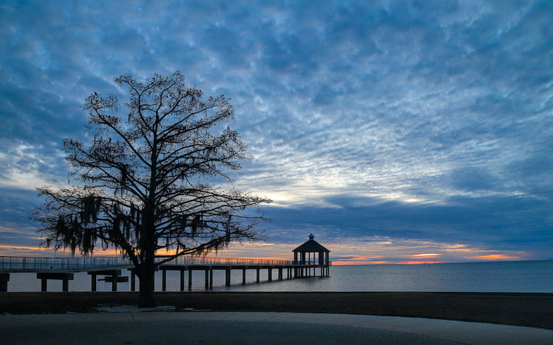 View of Sunset Over Lake Pontchartrain in Fontainebleau State Park Louisiana