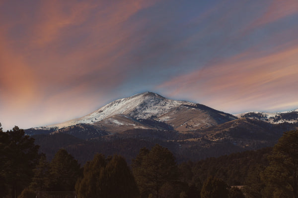 View of Sunset Over Sierra Blanca in Ruidoso New Mexico