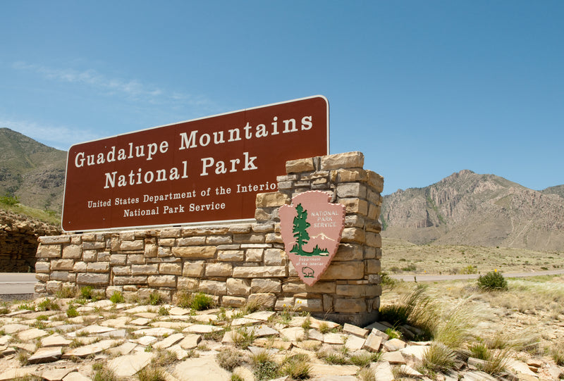 Welcome Sign for Guadalupe Mountains National Park Texas
