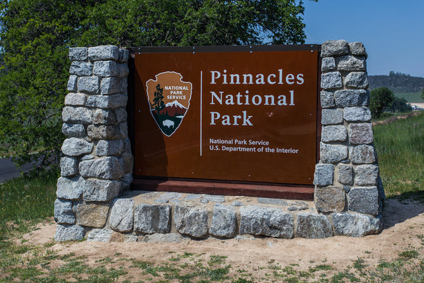 West Entrance Sign Into Pinnacles National Park in California USA