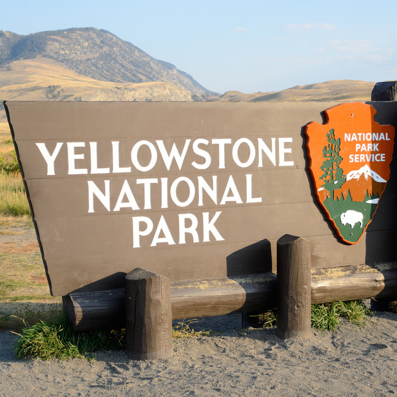 Yellowstone National Park sign with mountains in background