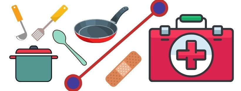 Graphic of Cooking Equipment and First Aid Kit
