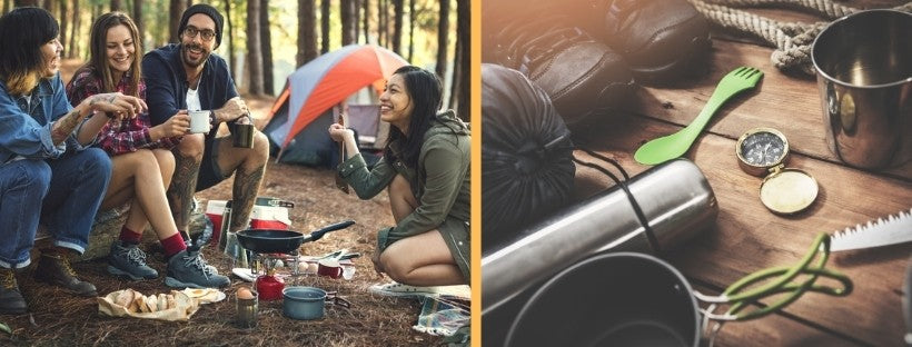 Group of People Camping and Outdoor Camping Equipment