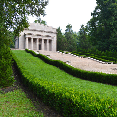 on the white steps  Abraham Lincoln Birthplace National Historical Park