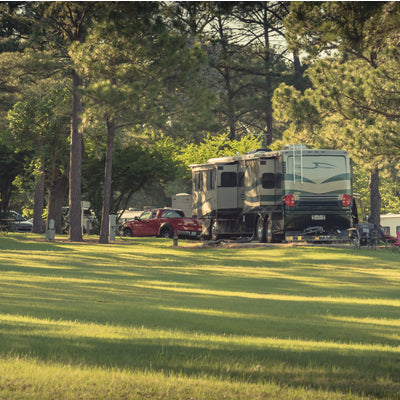 Rv comfortably parked in Bayou State Park