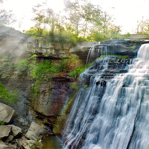 waterfall on a summer day at Cuyahoga Valley National Park