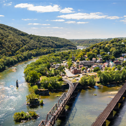 aerial view of a rustic bridge at Harpers Ferry National Historical Park