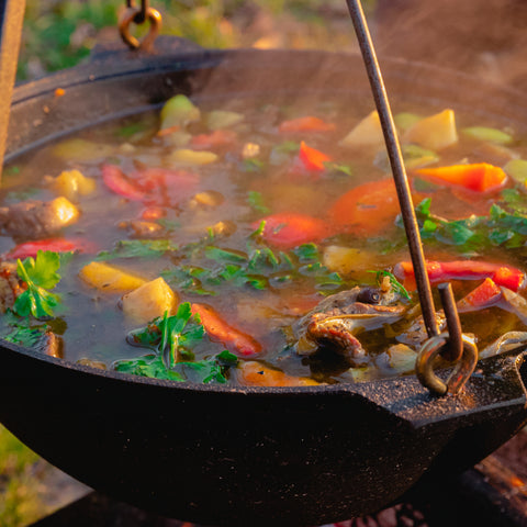 making stew while camping at Clackamette RV Park