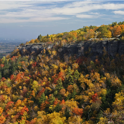hiking in the fall at John Boyd Thacher State Park