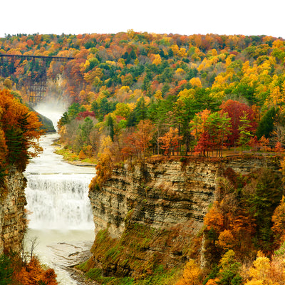 birds eye view at the waterfall in Letchworth State Park