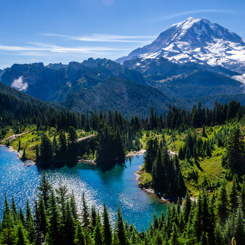 blue water in the lake at Mount Rainier National Park