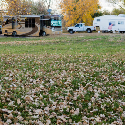 Fall at Pine Oak Creek RV Park with the leaves on the ground