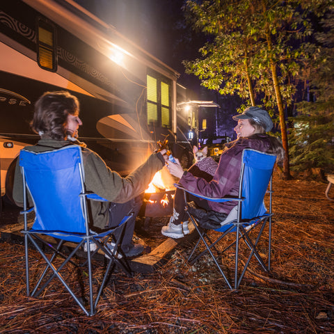 sitting by the fire at the Sea & Sand RV Park