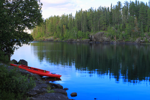 Red Canoe in a Lake at Voyageurs National Park