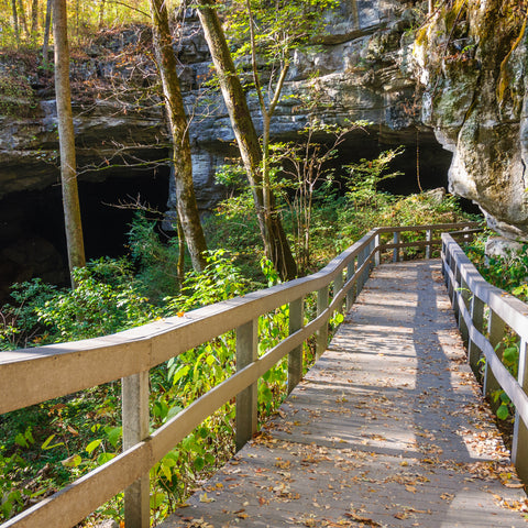 walking down to the cave at Russell Cave National Monument