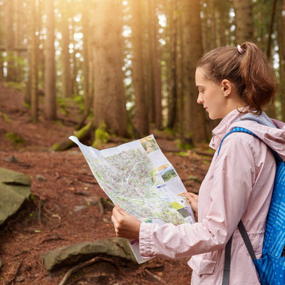 Hiking through the RV park with the map