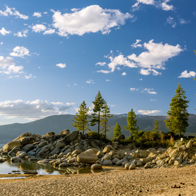 walking the beach at Sand Harbor State Park