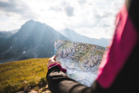 Reading a map while hiking