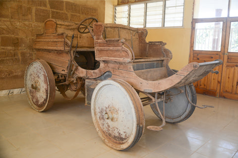 transportation vehicle in the old day wooden wheels