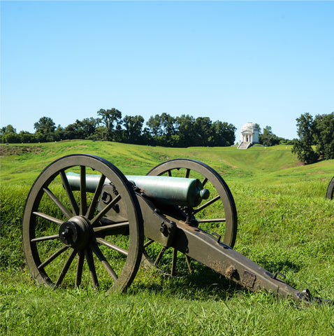 cannon in the middle of a grass field at Vicksburg National Military Park