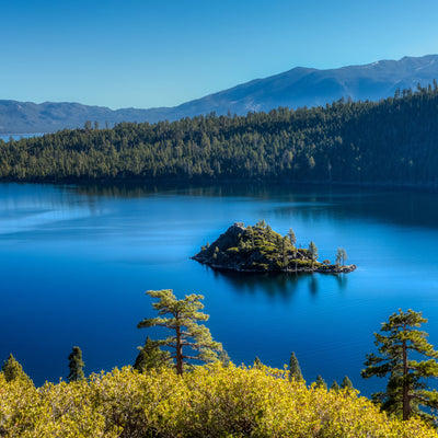 View of Emerald Bay and Fannette Island from overlook at Emerald Bay State Park, California