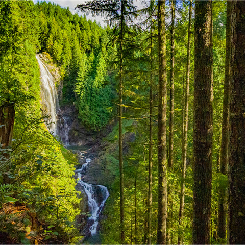 waterfall going through Wallace Falls State Park