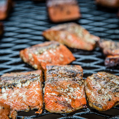 salmon on the grill at Wrangell St. Elias National Park