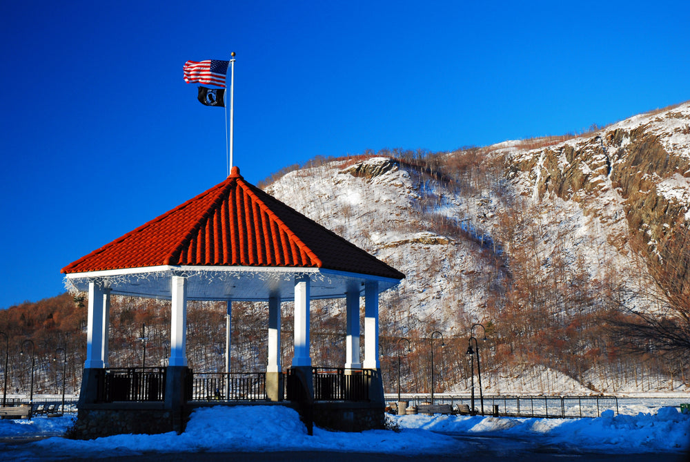 A Red Gazebo in Front of a Mountain Cold Spring NY