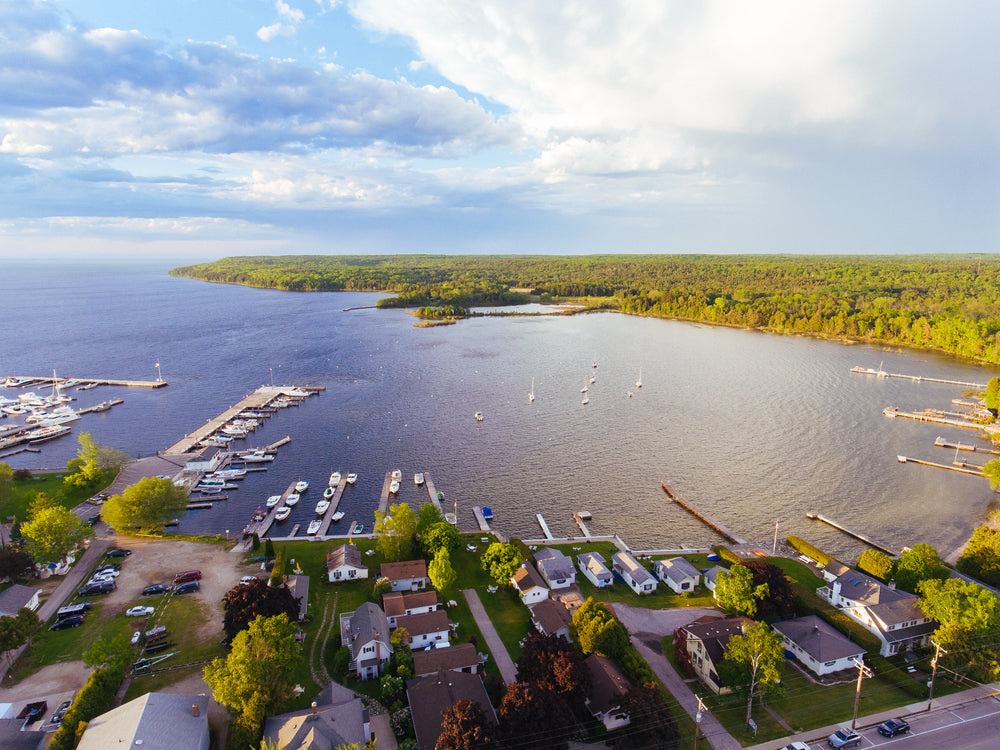 Aerial Drone View of Peninsula State Park Wisconsin