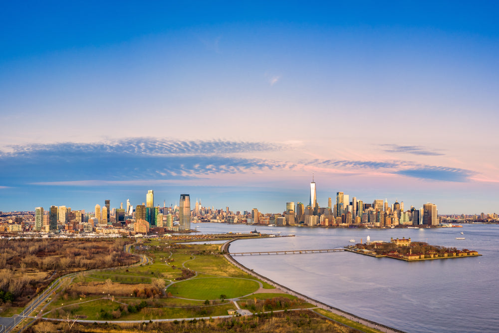 Aerial View New York City and Jersey City Liberty State Park New Jersey