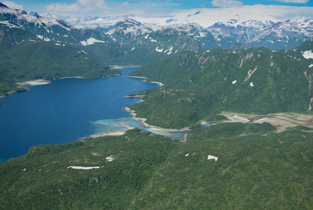 Aerial View of Hidden Harbor Among Emerald Green Forests and Snow Capped Mountains in Katmai National Park