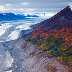 Aerial view of Mount Logan in Kluane National Park and Reserve during Yukon winter