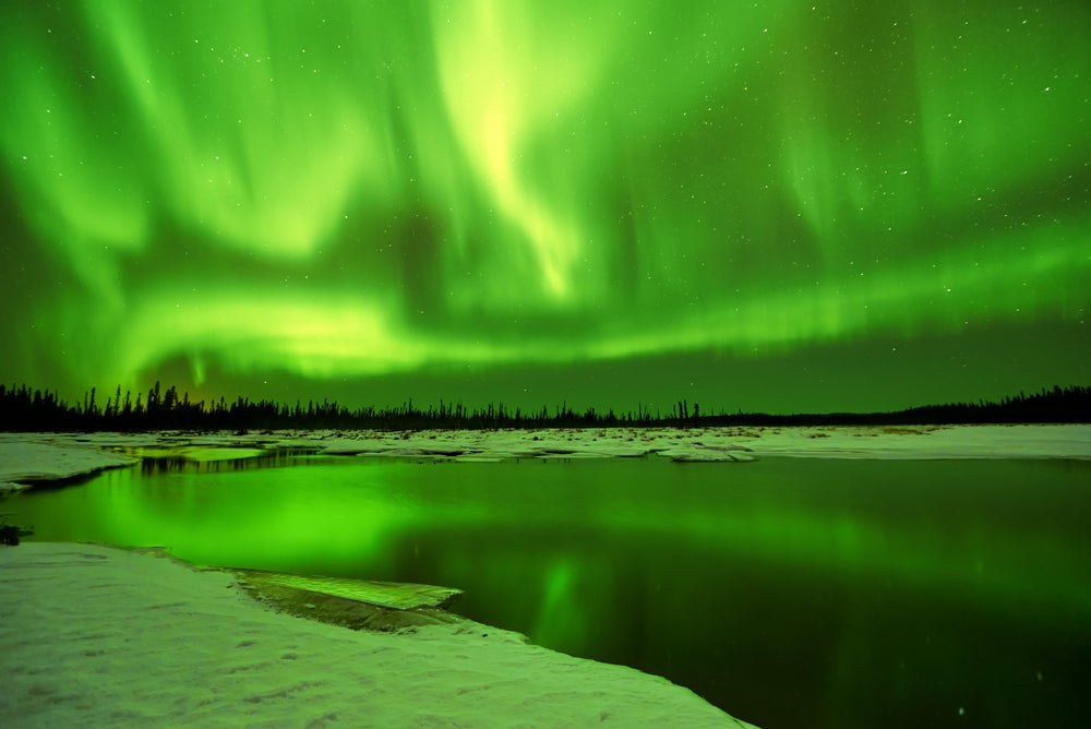Aurora Borealis Northern Lights Over lake Fairbanks Alaska