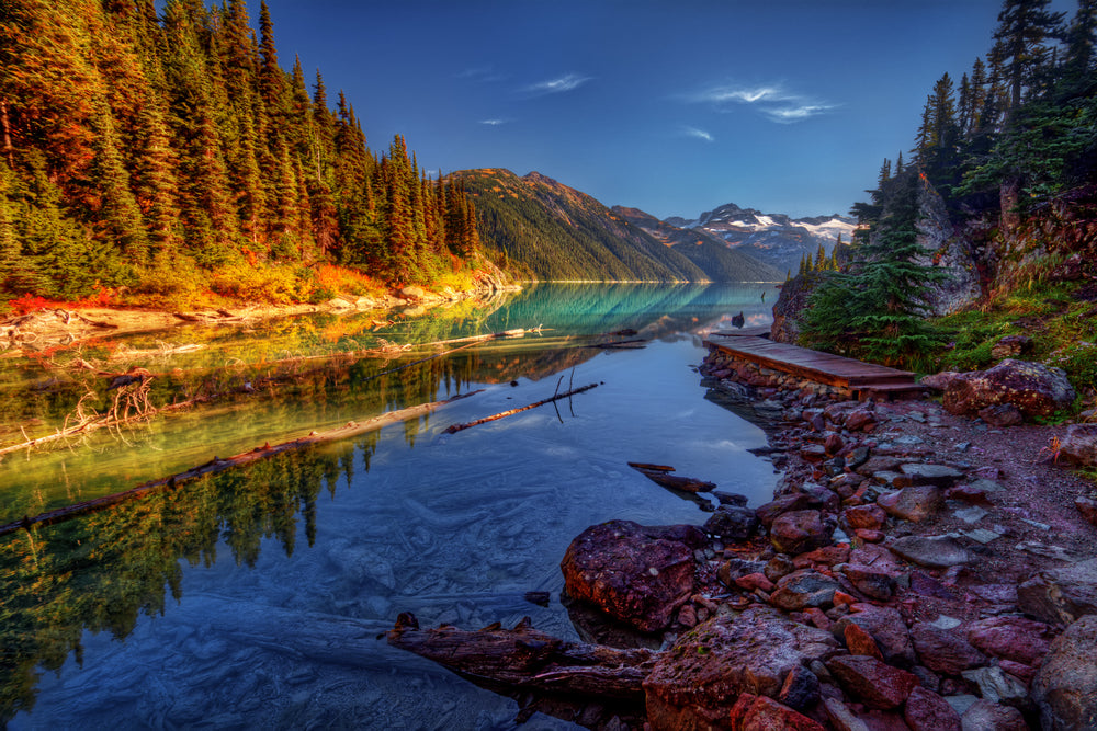 beautiful-autumn-View of Mountains Trees and Stream in Gates of The Artic National Park Alaska