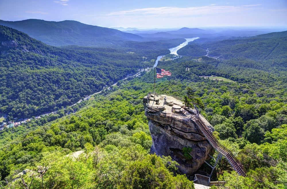 Beautiful Sunny Day Panoramic View Chimney Rock State Park North Carolina