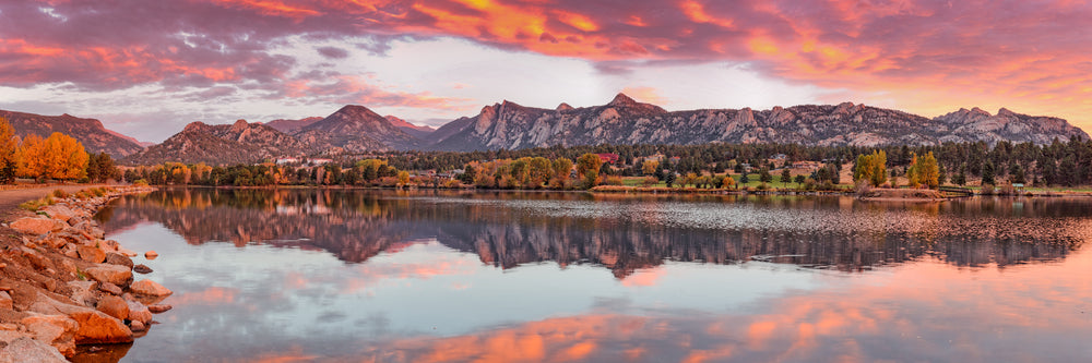 Beautiful Sunrise View Over Estes Park Colorado