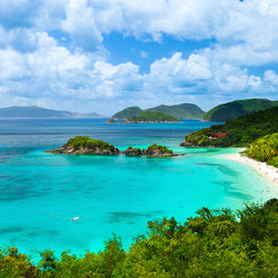 Beautiful view of Trunk Bay on St. John Island in Virgin Islands National Park