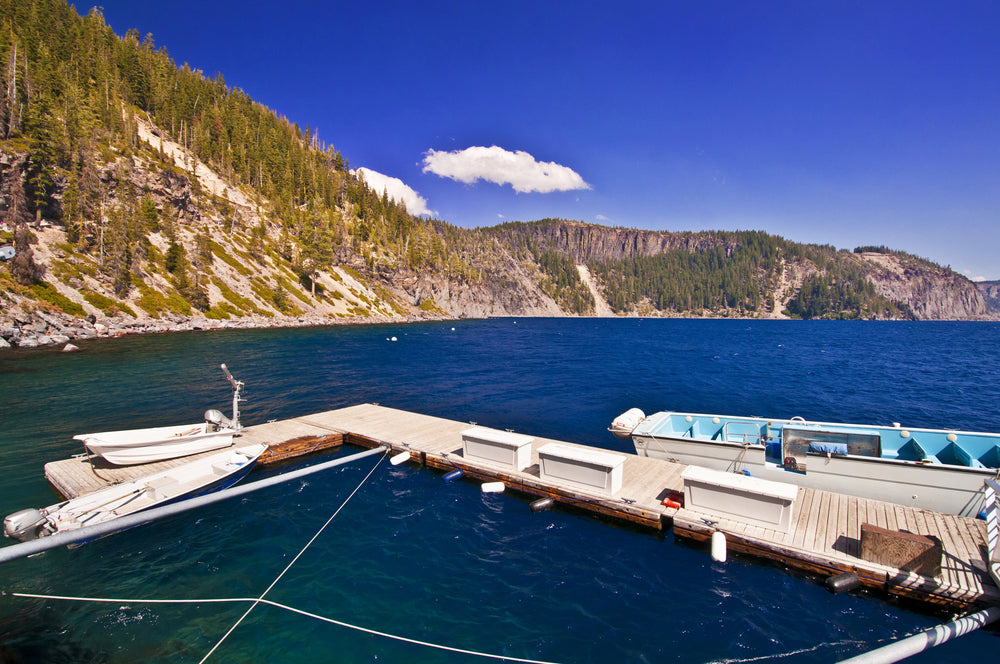 Boats Alongside Dock in Crater Lake of Crater Lake National Park
