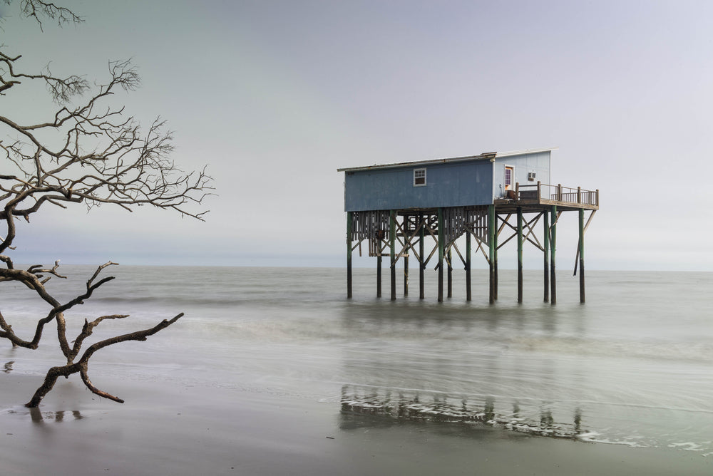 Cabin on Wooden Stilts on Beach at Huntington Island State Park South Carolina