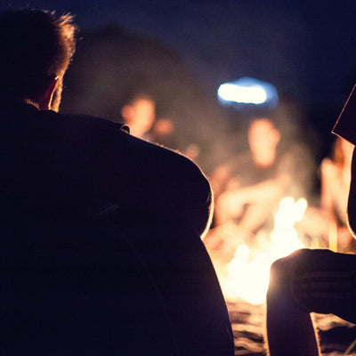 Campfire with friends while camping