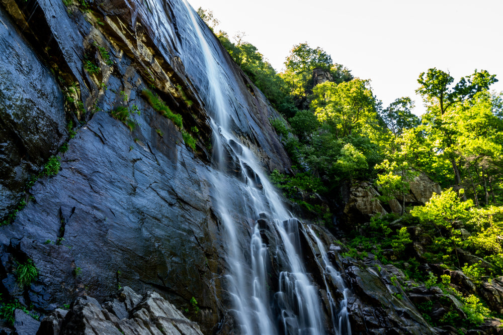 Close up View of The 404 Foot Drop of Hickory Nut Falls in Chimney Rock State Park North Carolina