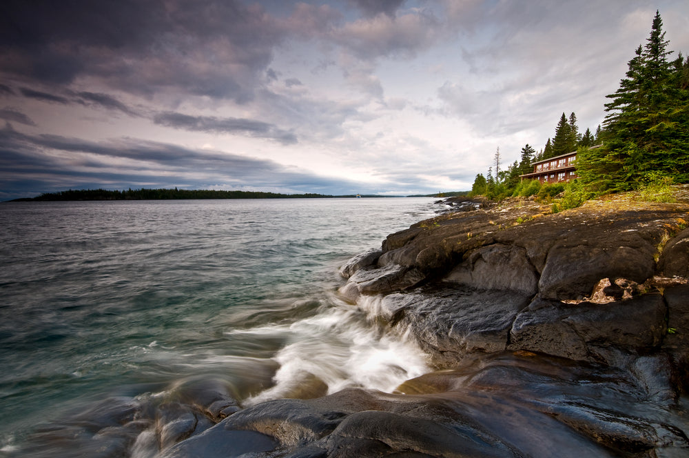 Cloudy Day View of Sunset Over Rock Harbor at Isle Royale National Park Michigan