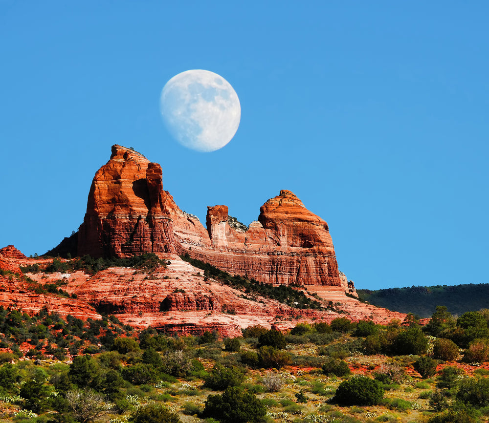 Daytime View of Moon Red Rock Country Mountains Red Rock State Park Arizona