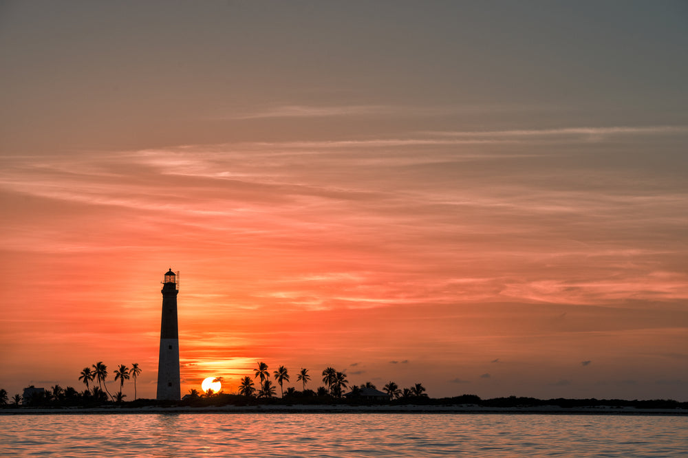 Dramatic Sunset View of Lighthouse in Dry Tortugas National Park Florida