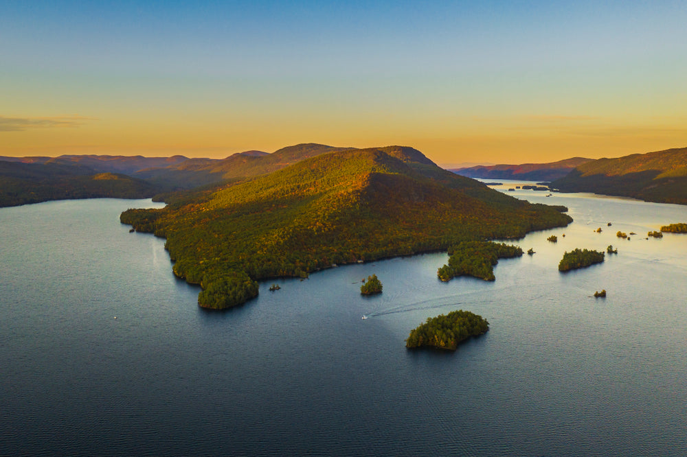 Drone View of Lake George at Sunset at Lake George RV Park New York