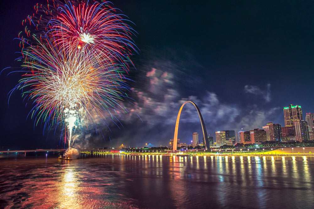 Fireworks Over St Louis Skyline Along Mississippi River at Gateway Arch National Park Missouri