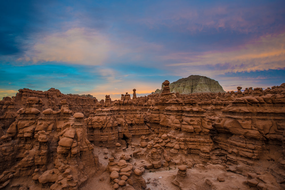 Goblin Valley at Sunset With Beautiful Skies