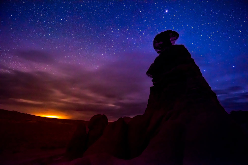 Goblin Valley Hoodoos at Night With Sunset Sky