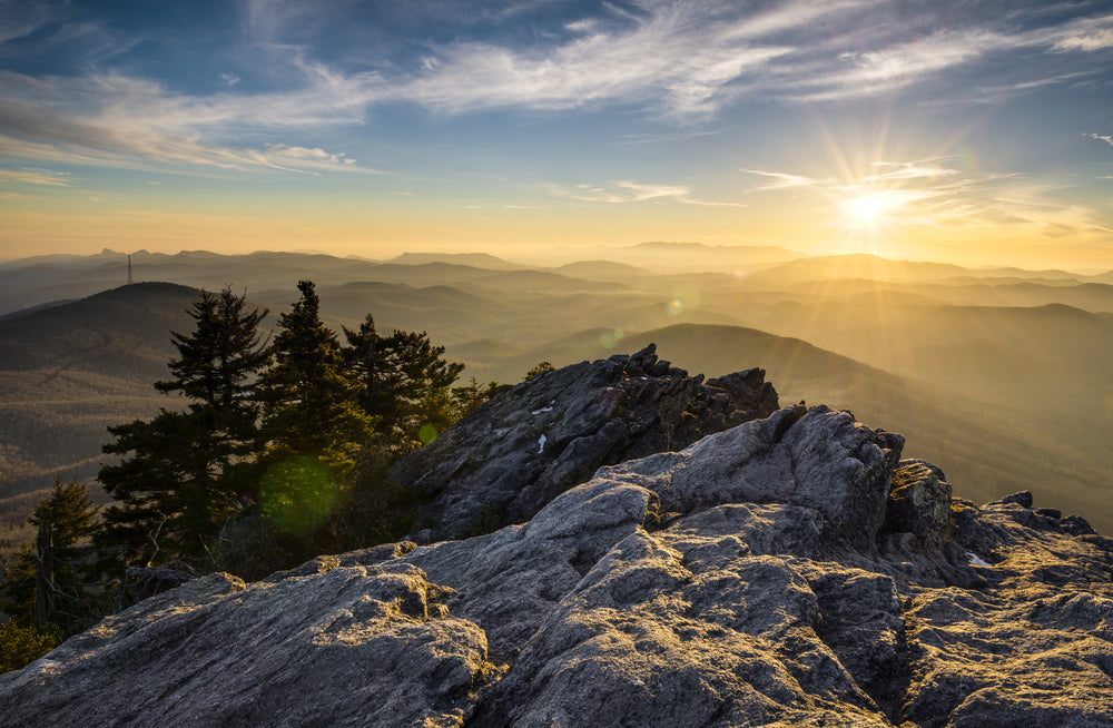 Grandfather Mountain With Sunset View of Blue Ridge Parkway at Grandfather Mountain State Park North Carolina