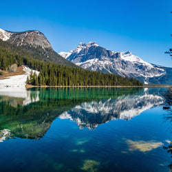 Late winter at Emerald Lake with mountain view in Yoho National Park, British Columbia